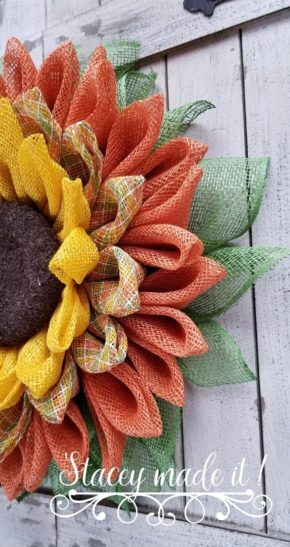 Photo of Sunflower wreath, burlap sunflower wreath, sunflower burlap wreath, summer wreath, autumn wreath, spring wreath, front door wreath, door decor