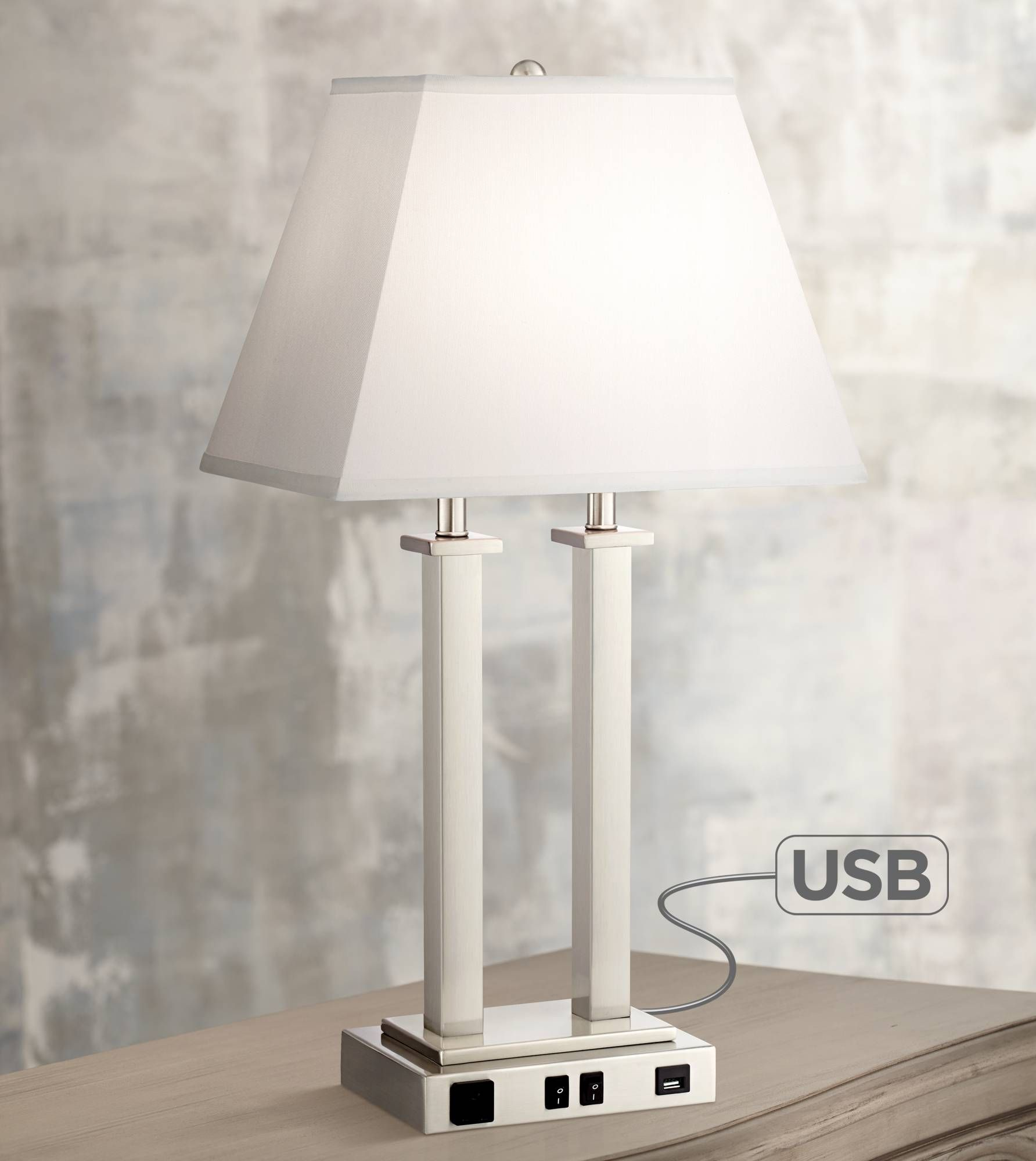 Possini Euro Amity Desk Lamp With Usb Port And Outlet 9g408