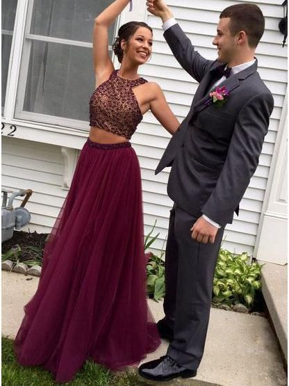 Beaded Top Grape Tulle 2 Pieces Prom Dress,Two Pieces Formal Dress ...