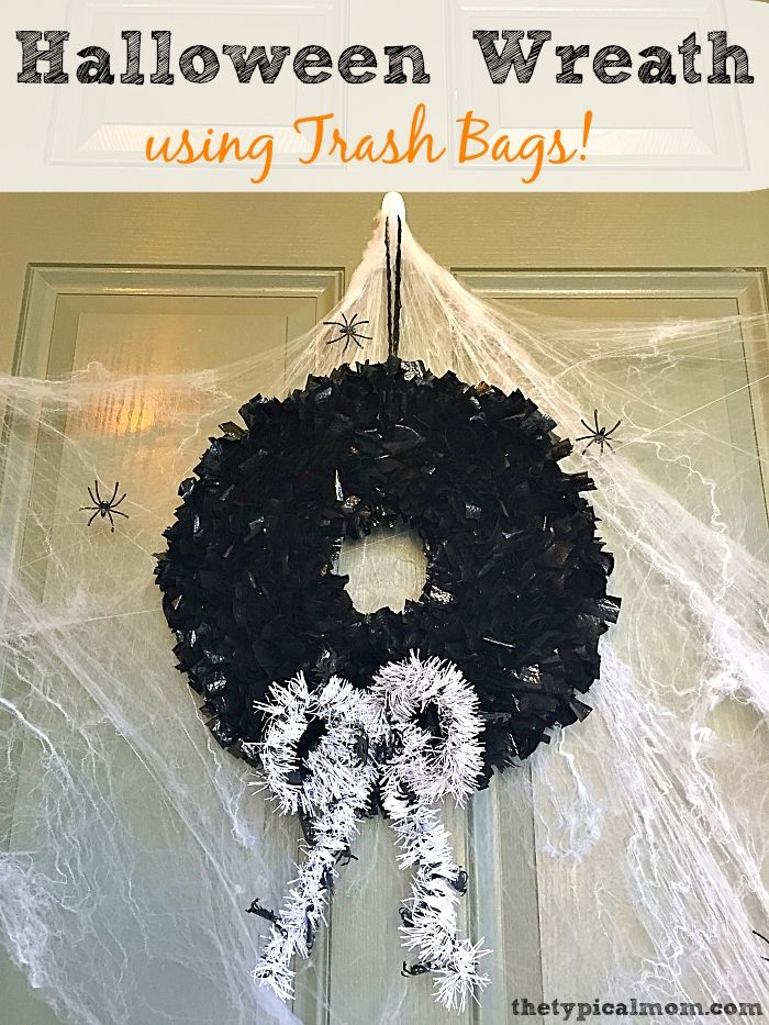 DIY Halloween wreath using trash bags Great repurposing activity - halloween decorations to make at home for kids