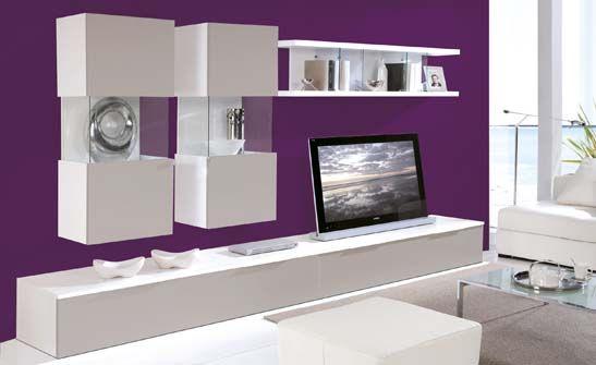 Mueble de sal n cumpuesto de m dulos bajos y altos con vitrinas y estanter as en acabados blanco - Muebles bajos para salon ...