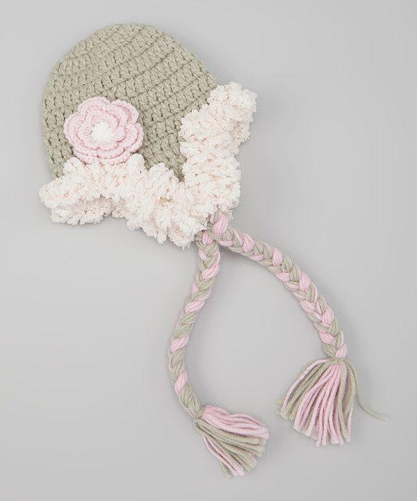 Look what I found on #zulily! Gray Flower Powderpuff Earflap Beanie by Marili Jean #zulilyfinds