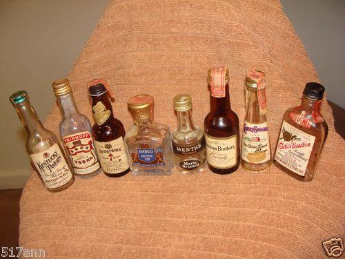 8 Old Mini Glass Whiskey Bottles 1930s Up Menthe Segrams Boodles More | eBay