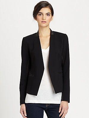 04d9575268 Theory Lanai Huntington Leather Panel Blazer | Beautiful Basics ...