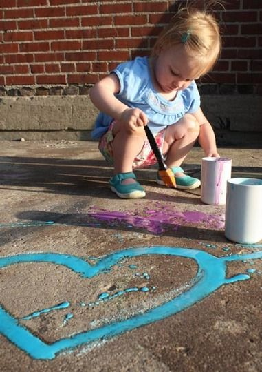 2T cornstarch + 2T water + 5 drops food colouring = Sidewalk Chalk Paint. Love this!