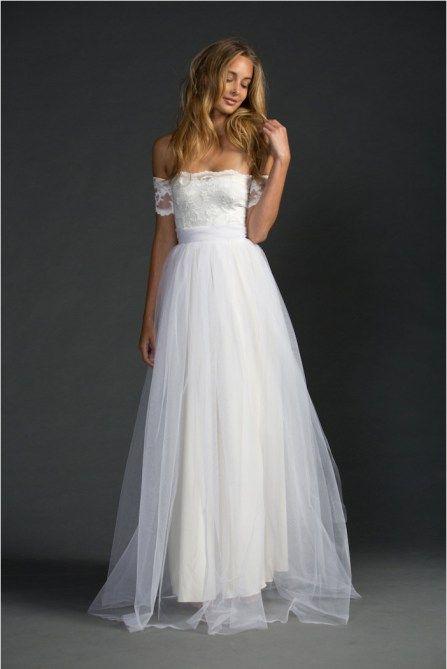 Off the shoulder beach wedding dress