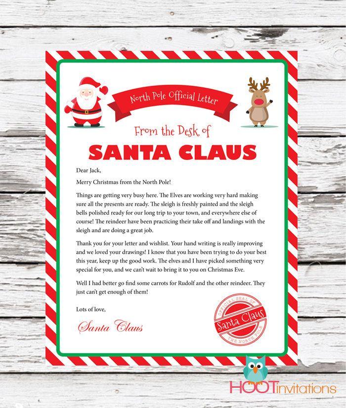Letter From Santa Christmas Letter Santa Letter Gift Idea For