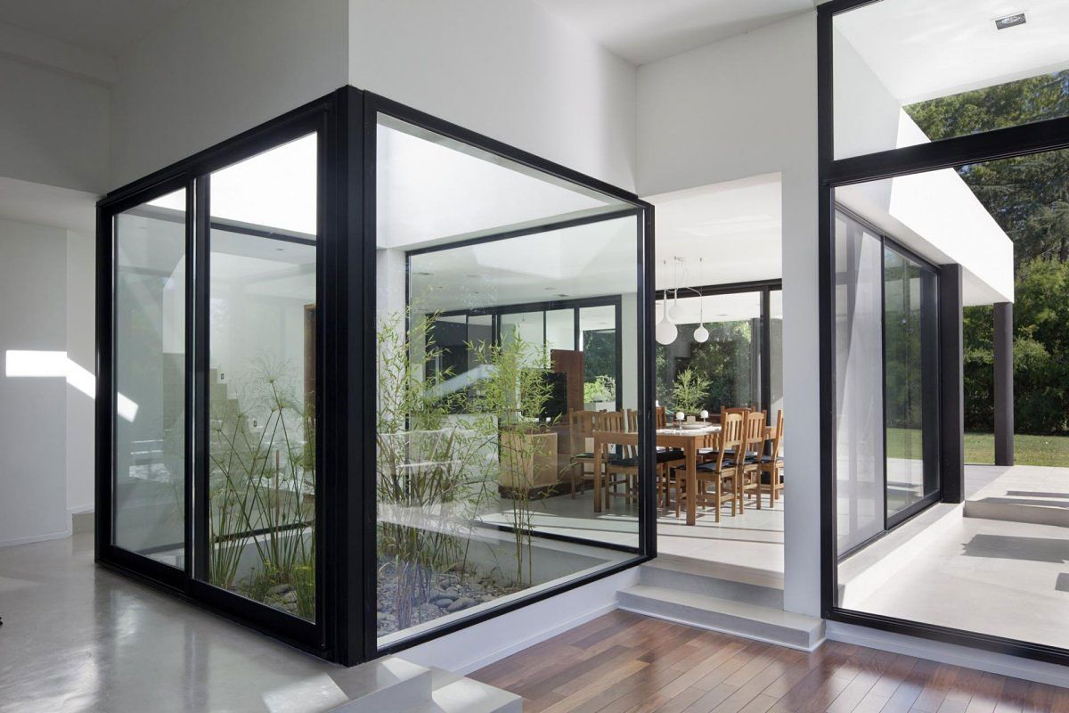 Delightful Small Bamboo Plants Garden In The Middle Simple Modern House Design With  Black And White Interior Color Decorating Ideas Plus Glass Window