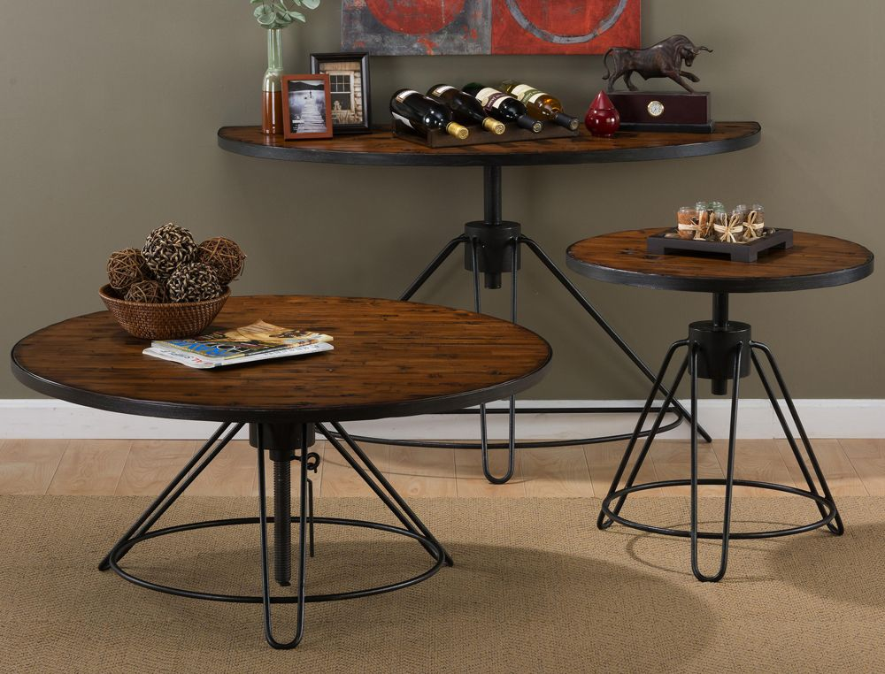 Jofran 413 2 Distressed Rustic Pine Round Cocktail Table W Adjustable Height Adjustable Height Coffee Table Pine Coffee Table Coffee Table Setting Jofran living room cocktail table