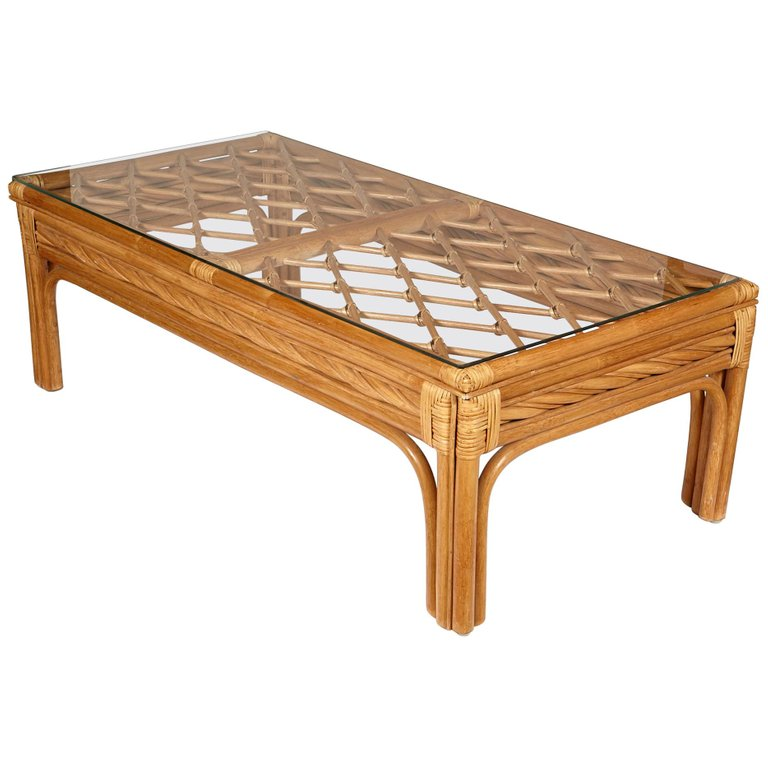 Bamboo And Glass Top Coffee Table 1970s Glass Top Coffee Table