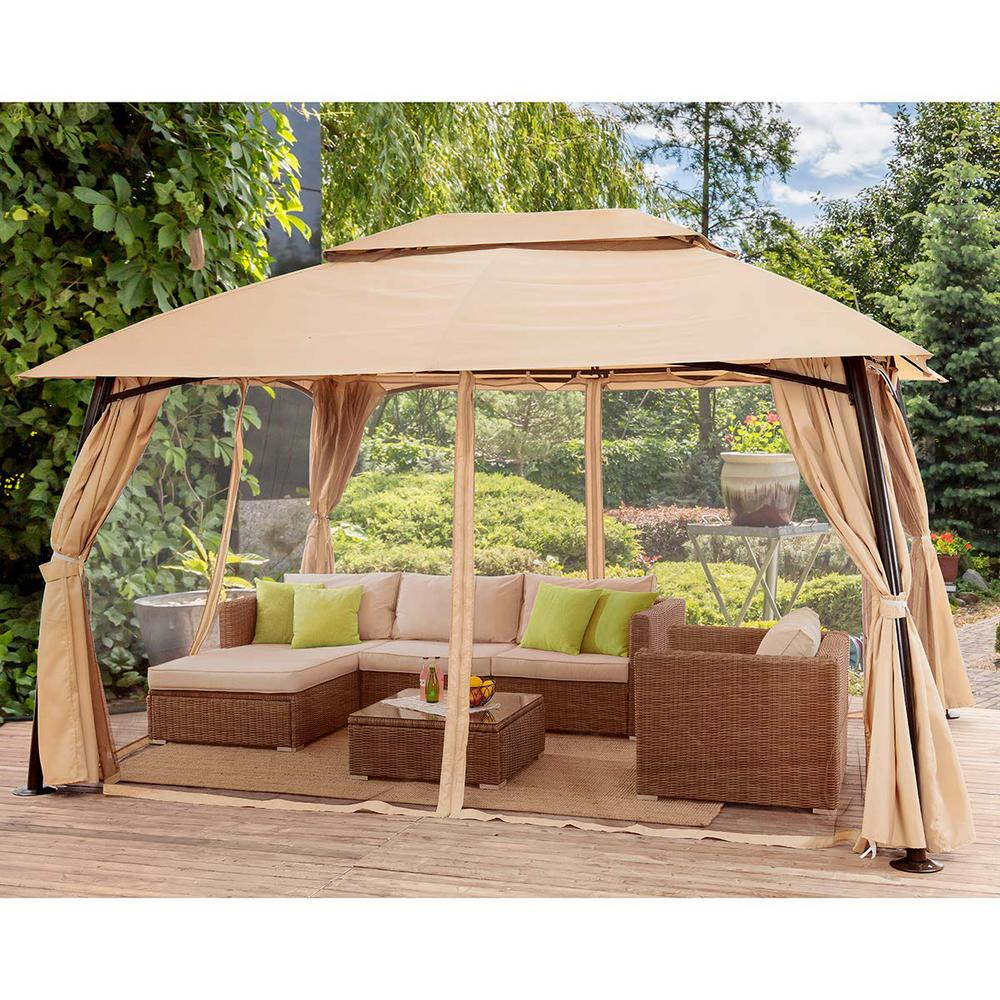 Renaissance 10 Ft X 13 Ft Beige In 2020 Patio Gazebo Gazebo Tent Gazebo