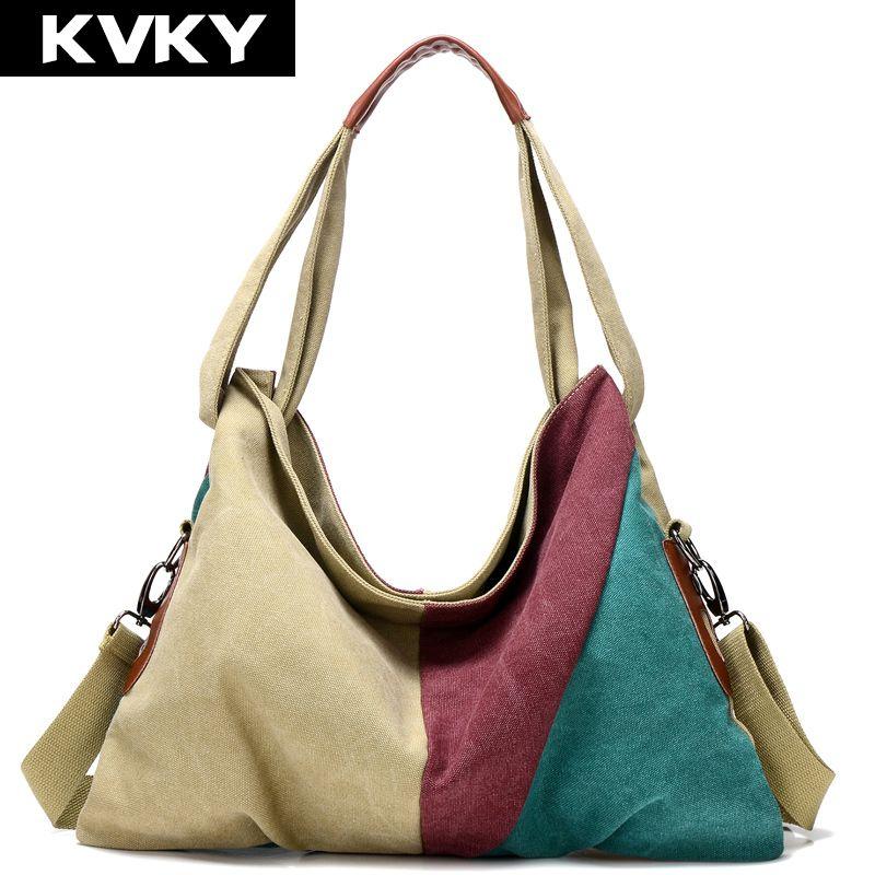 KVKY New Vintage Patchwork Women Handbag Hot Sale Canvas Shoulder Bag  Fashion Messenger Crossbody Bag Casual. Shopping Tote BagsShopping ... 7e061010689fa