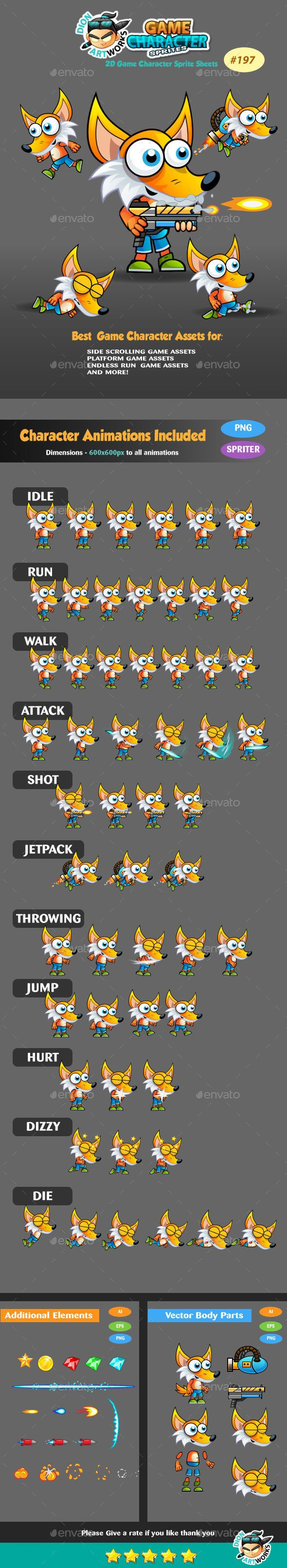 Fox 2D Game Character Sprites 187 — Vector EPS rpg game