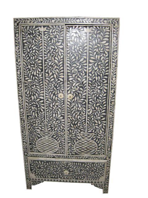 Antique India Furniture Bone Inlay Armoire Cabinet Chest
