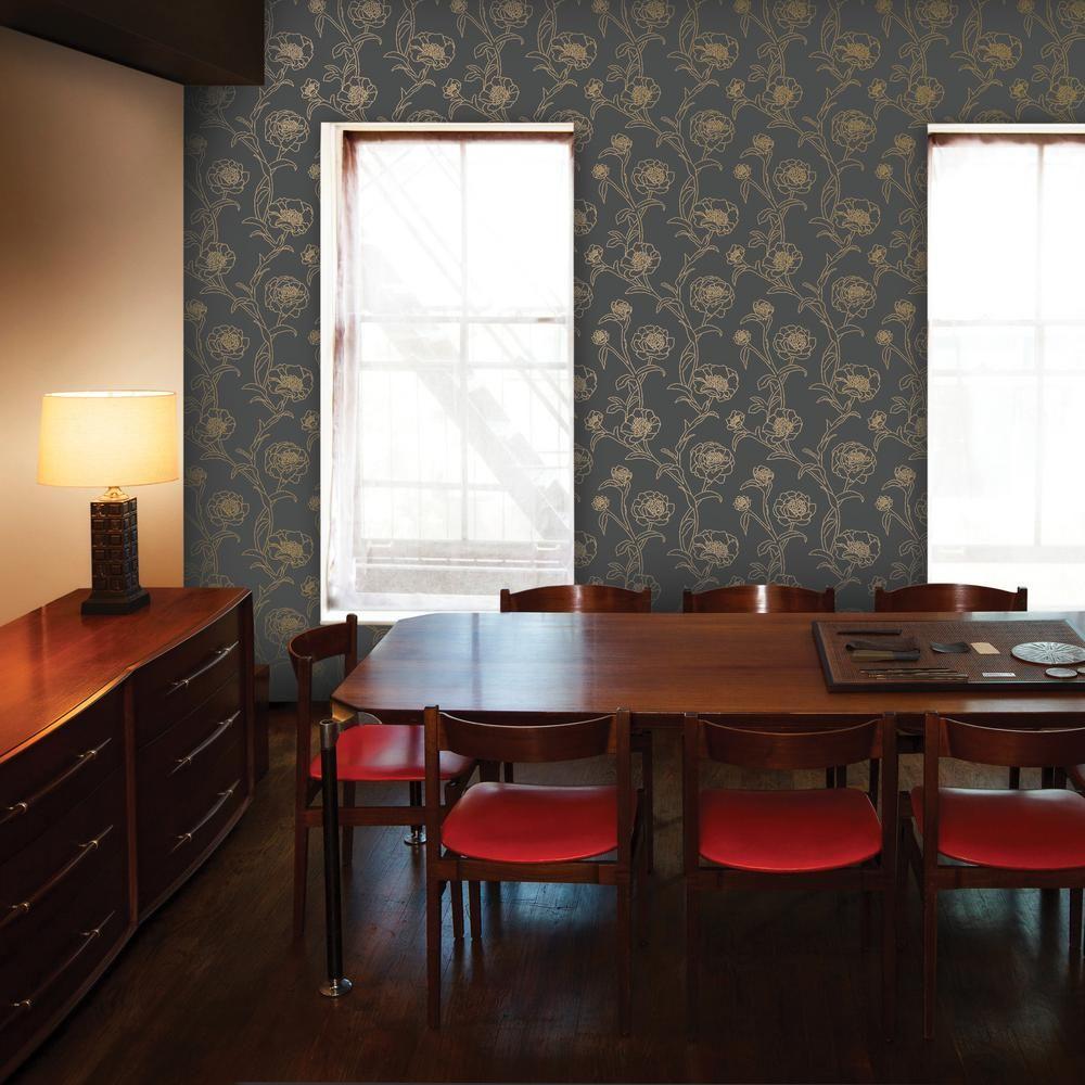 Tempaper Peonies Noir Peel and Stick Wallpaper 56 sq. ft