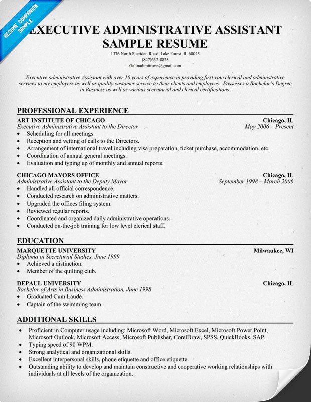 executive administrative assistant resume resumecompanioncom - Sample Resume For Executive Assistant