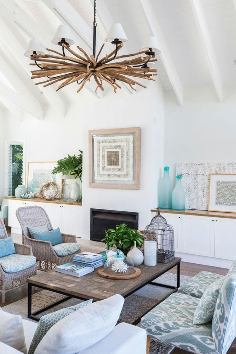 25 Coastal Farmhouse Design And Decor Ideas To Make You Feel Like You Re At The Beach Beach House Living Room Beach House Interior Design Coastal Farmhouse Decor