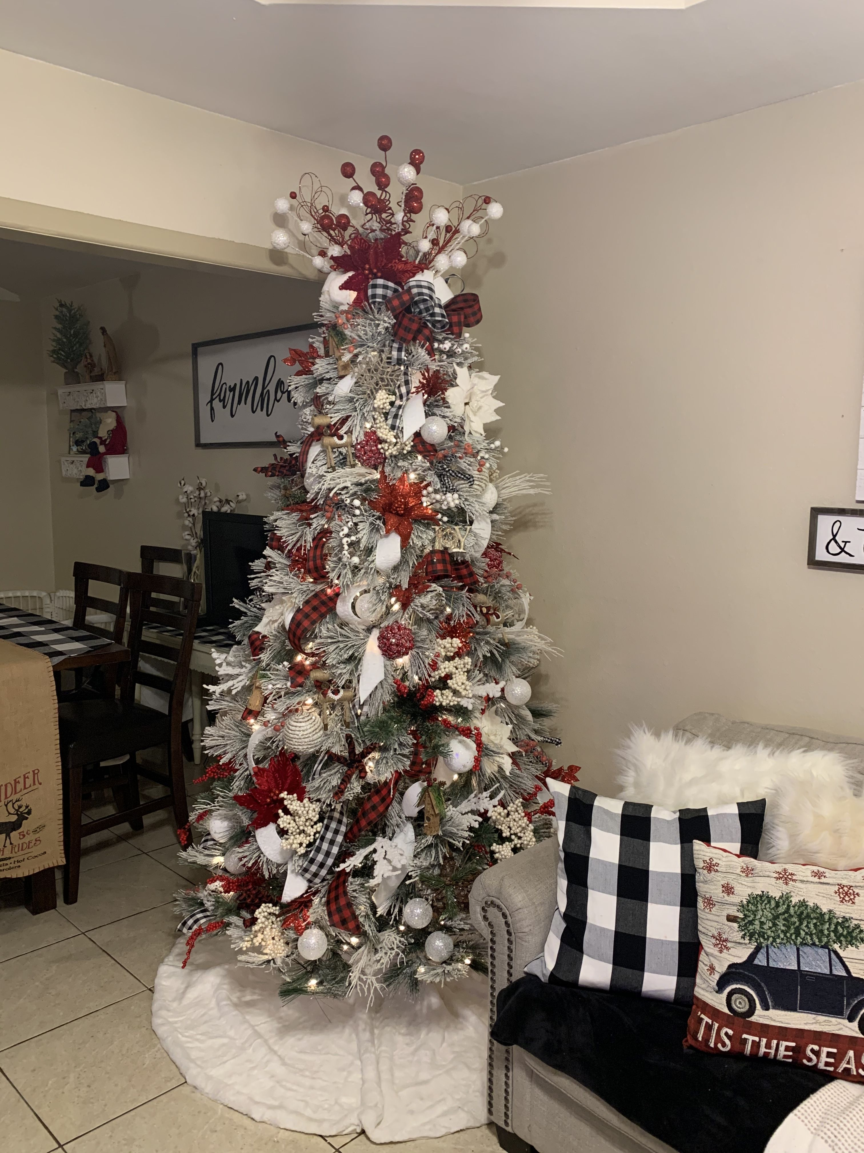 43+ Red and white farmhouse christmas tree model