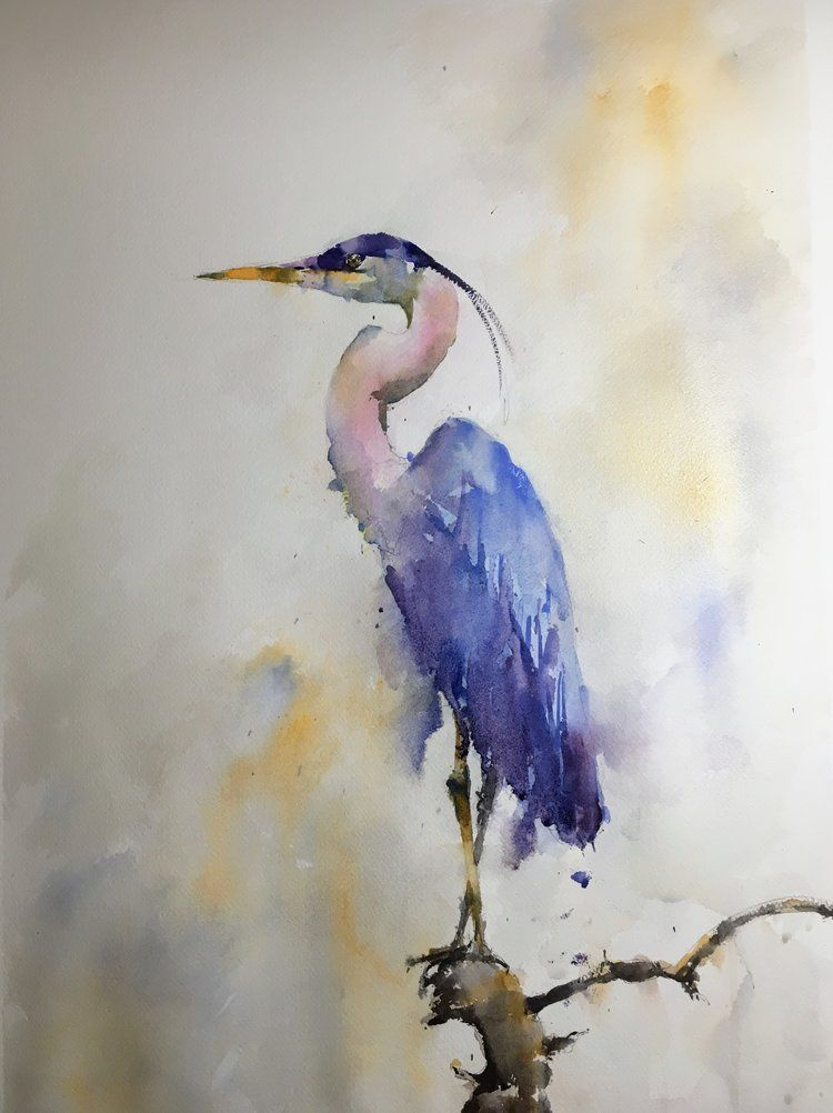 Great Blue Heron Watercolor Bird Watercolor Animals Watercolor Art