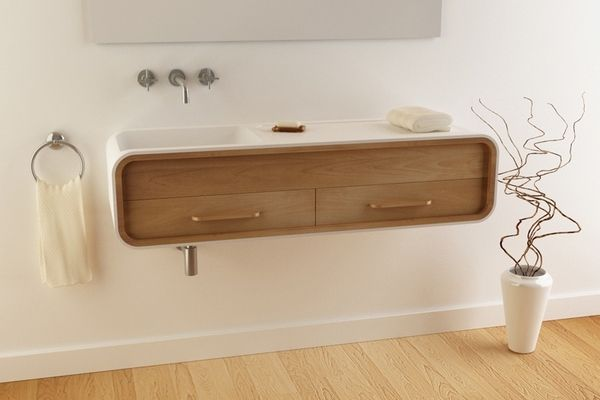 Minimalist Bathroom Furniture Design White Sink Curved Wood Vanity