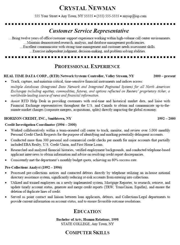 Resume For Customer Service Representative Resume For Customer Service Representative We Provide As Reference To Make Correct And Good Quality Resume Also Wi
