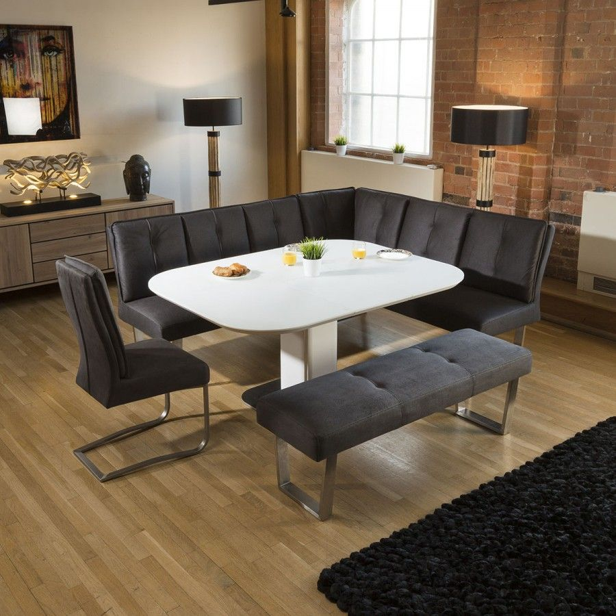Corner Dining Set White Glass Extending Table Grey Chair