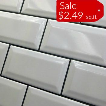 Discount Glass Tile Store - Beveled Subway TIle - 3x6 White Sale $2.49 Per  Square Foot