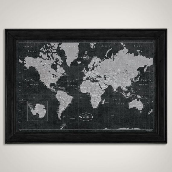 Modern world travel map poster modern slate style map slate world map poster modern slate style by conquestmaps on etsy gumiabroncs Choice Image
