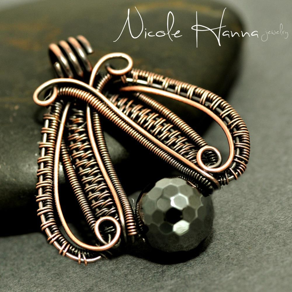 Moth pendant by nicole hanna wirework pinterest moth nicole hanna jewelry creates one of a kind artisan wire wrap jewerly in copper and silver metals and seed bead embroidery featuring artisan gemstone baditri Images