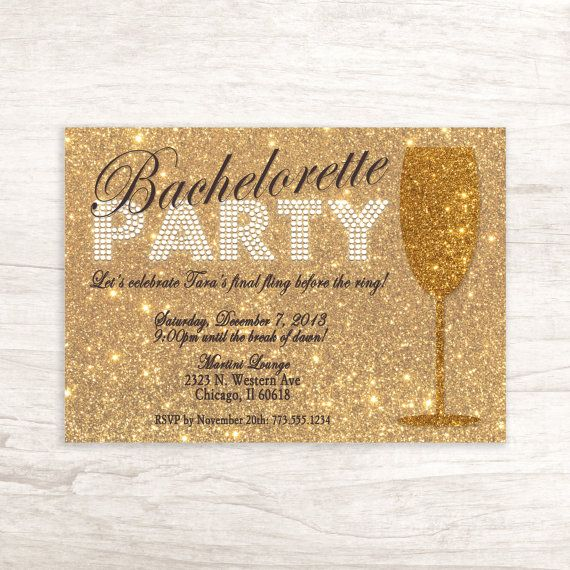 Glitter Gold Bachelorette Party Invitation by LilygramDesigns