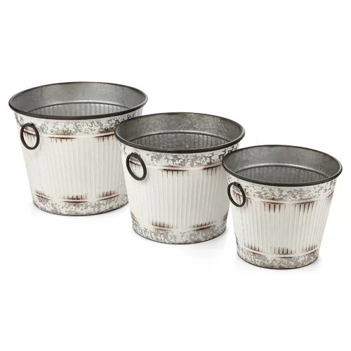 Gracie Oaks Galvanized 3 Piece Metal Wire Bucket Set Wayfair Galvanized Buckets Metal Bucket Decorative Buckets
