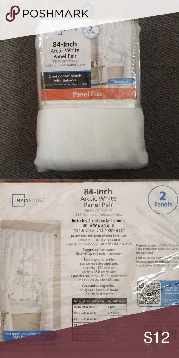 Mainstays 84 Arctic White Panel Pair Nwt White Paneling Clothes