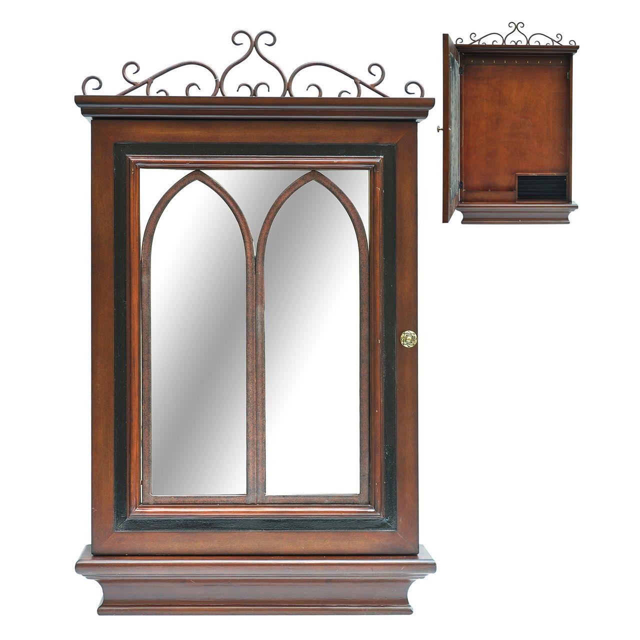 Past Reflected Hidden Key Hook Cabinet Wall Mirror 36 X 21 1/2 - Zeckos