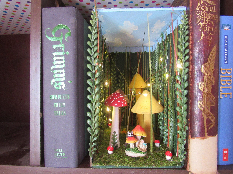 Handmade Book Nook Book Shelf Insert With Lights In A Mushroom Etsy Book Nooks Bookshelf Art Dragonfly Wall Art