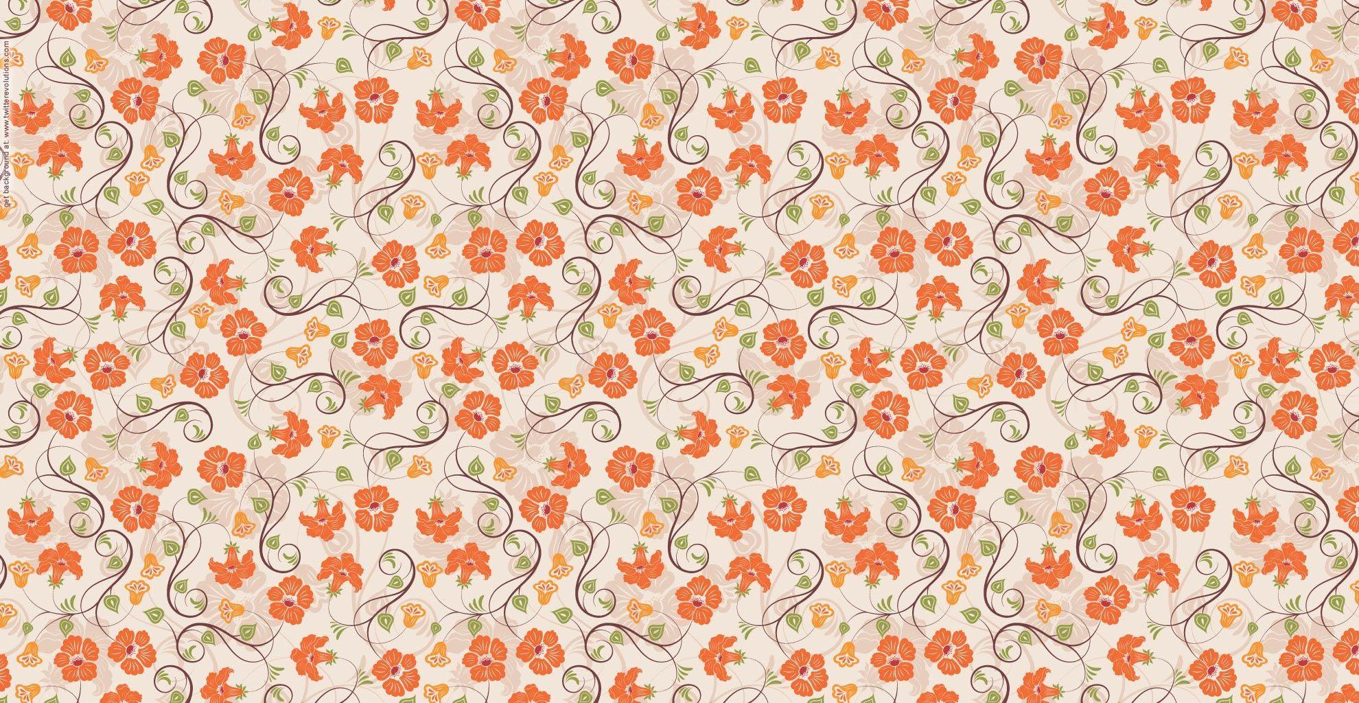 Orange Flower Pattern Wallpaper