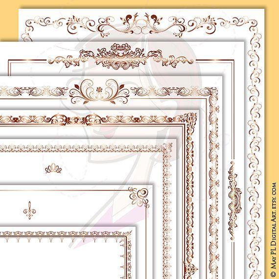 page borders rose gold document frame 8x11 retro ornate flourish frames award certificate clip art antique