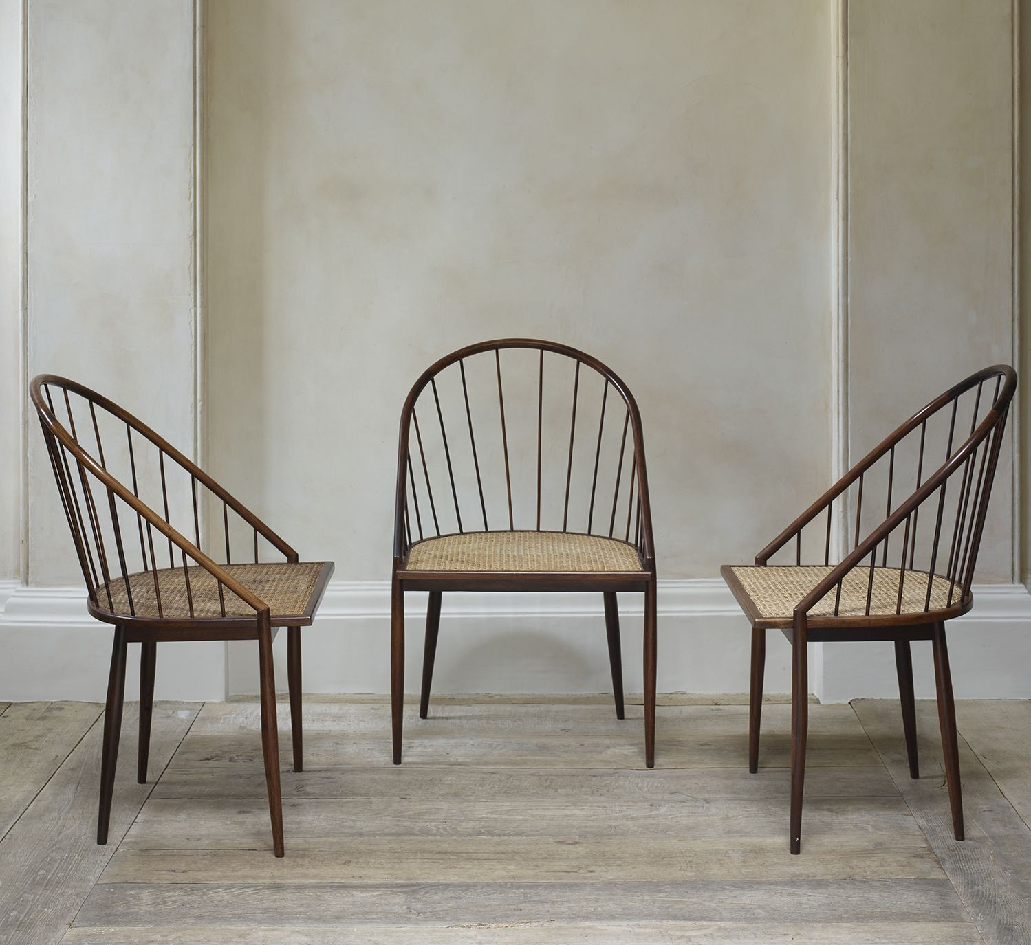 Set of Four Brazilian Spindle Back Chairs by Joaquim Tenreiro
