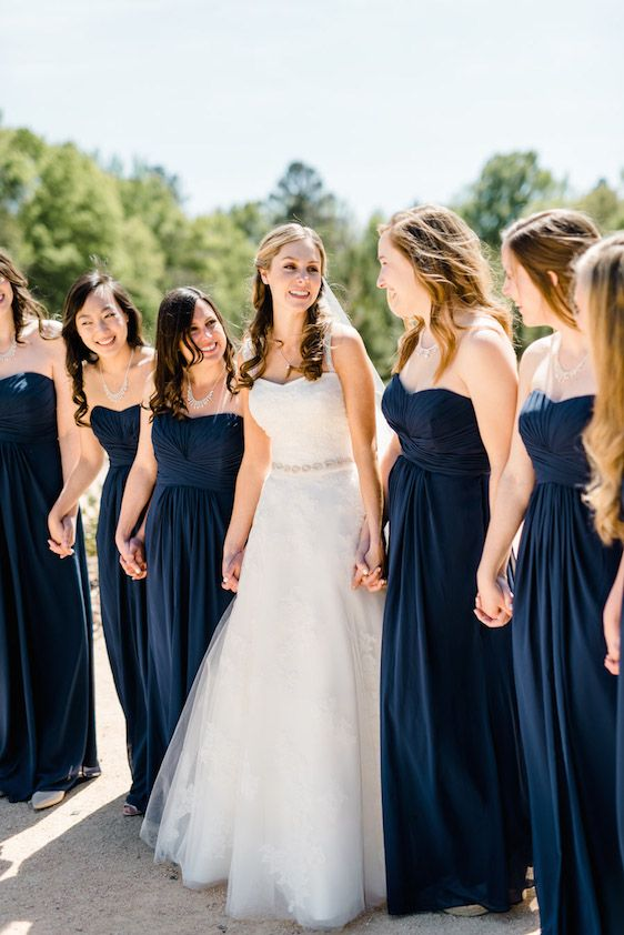 Long Strapless Navy Bridesmaid Dresses