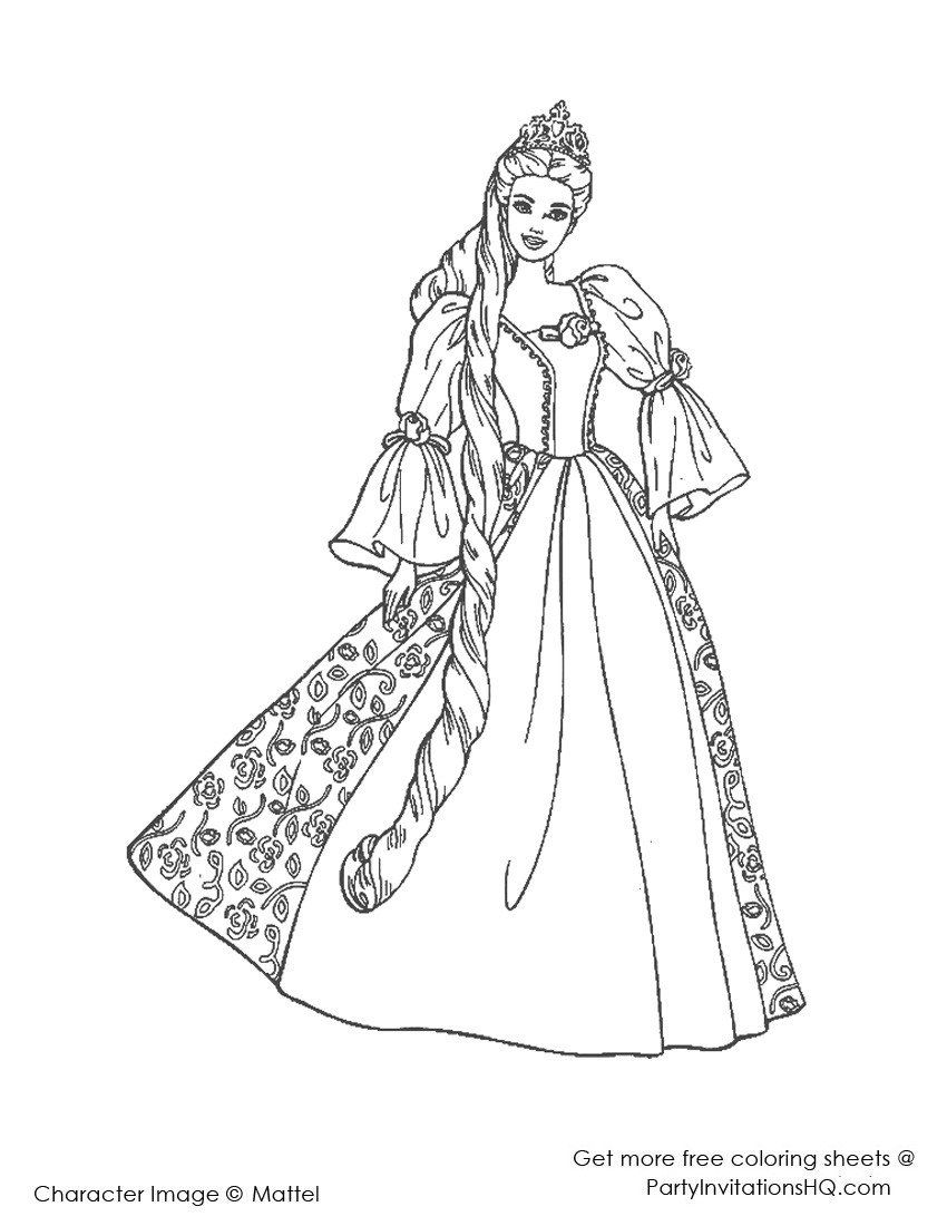 Barbie Princess Coloring Page Barbie Coloring Pages Princess And The Popstar In 2020 Disney Princess Coloring Pages Rapunzel Coloring Pages Princess Coloring Pages