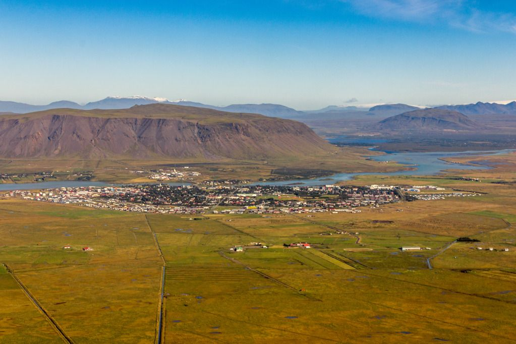 Overview of Selfoss, ring road goes through Selfoss. So if