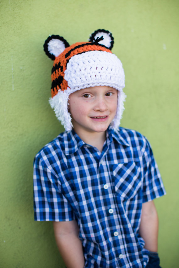 This adorable Tiger hat has soft earflaps made from a fuzzy yarn.Etsy pattern $5.50