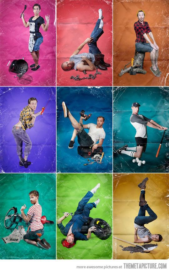 Men photographed in stereotypical pin-up poses… LMAO