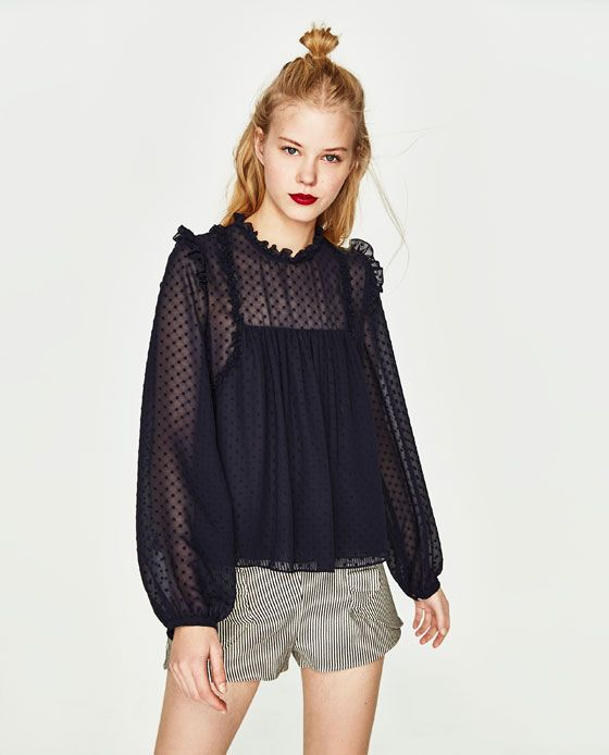d4614e4d Image 4 of DOTTED MESH TOP from Zara Black Mesh Top, Sweet Style, Street