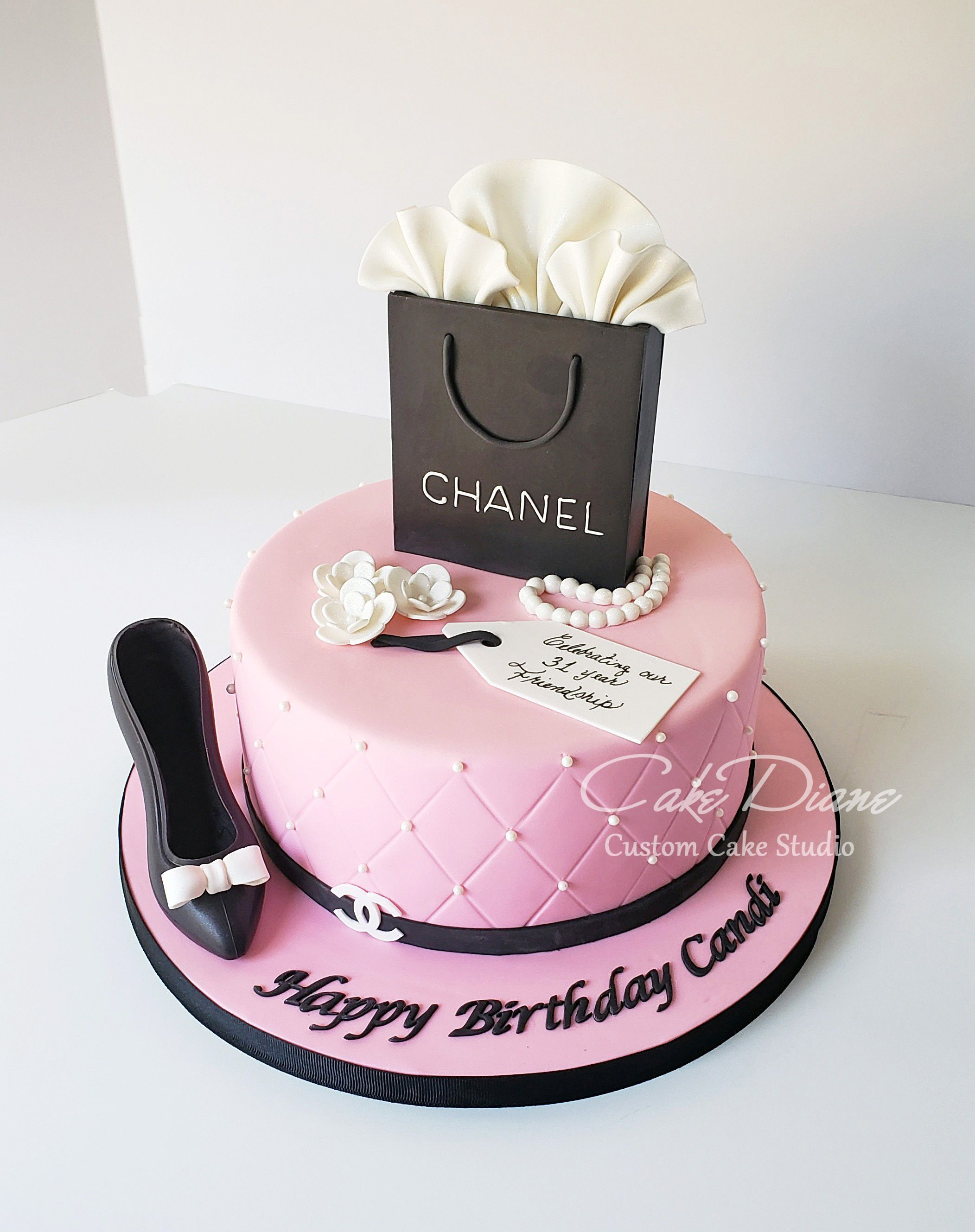 Wondrous Chanel Theme Birthday Cake All Edible Including Chocolate Shoe Personalised Birthday Cards Beptaeletsinfo