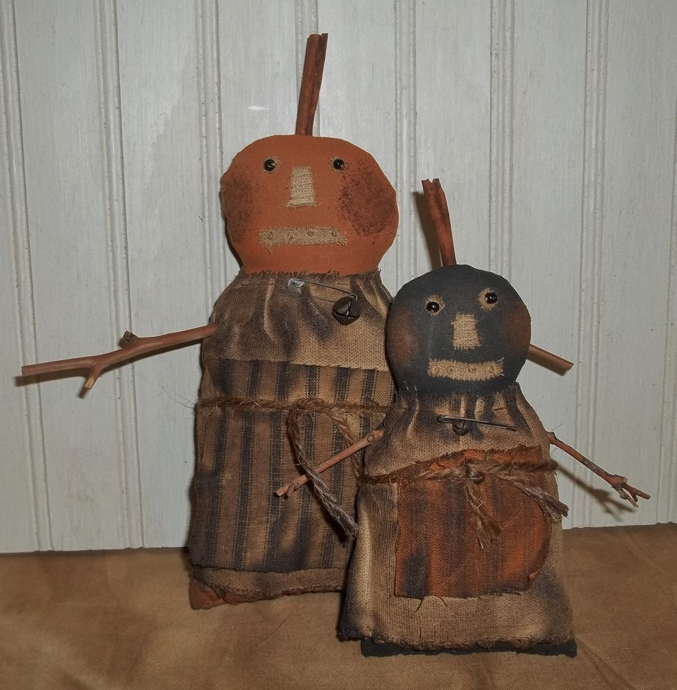 Primitive Grungy Olde-Time Jacks Halloween Pumpkin Girls Doll Set - Primitive Halloween Decor