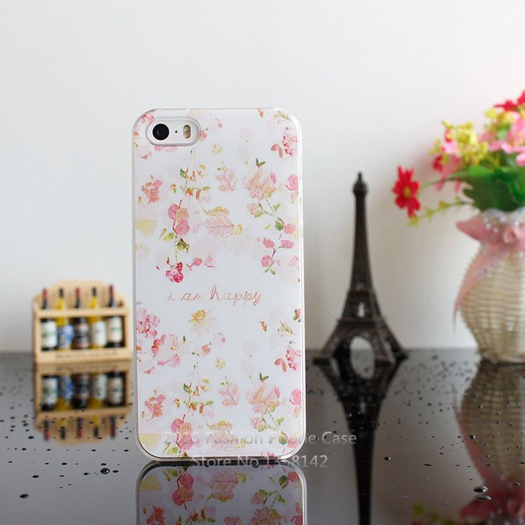 2015 New Arrive Flower 17 Design Painted Black Cover Case For Apple i Phone iPhone 5 5S 5G 1piece Free Shipping