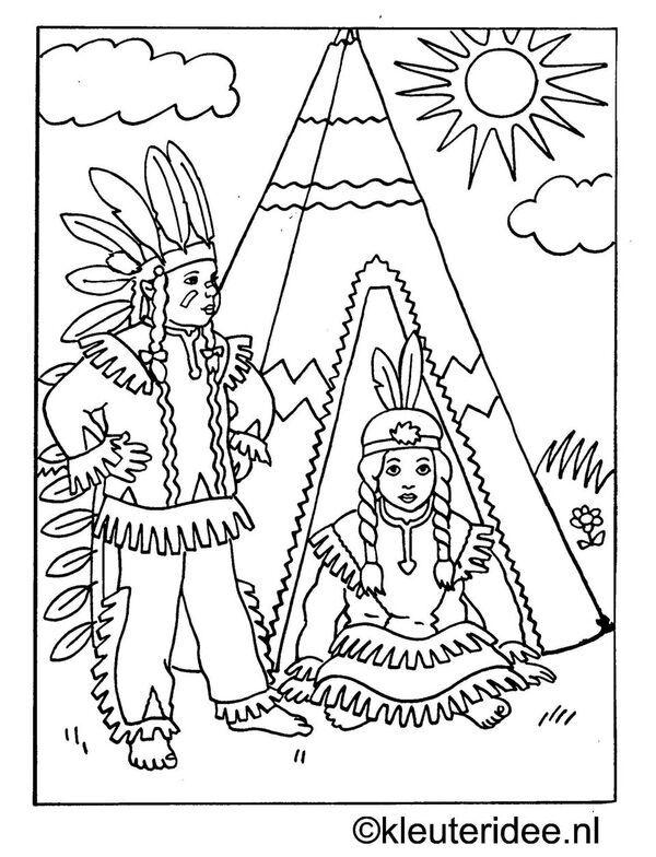 kleurplaat indianen bij tipi, kleuteridee.nl.jpg