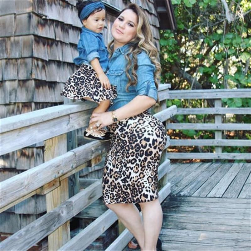 6d00986c26 Family Matching Clothes Fashion Hot Mother Baby Girls Tops Blouse Leopard  Skirts Family Look Clothing 2018 New Familys Costumes