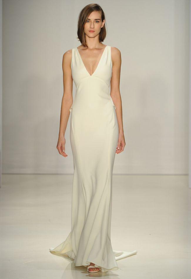 Sheath Wedding Dress : V-neck Sheath Wedding Dress | Amsale Fall ...