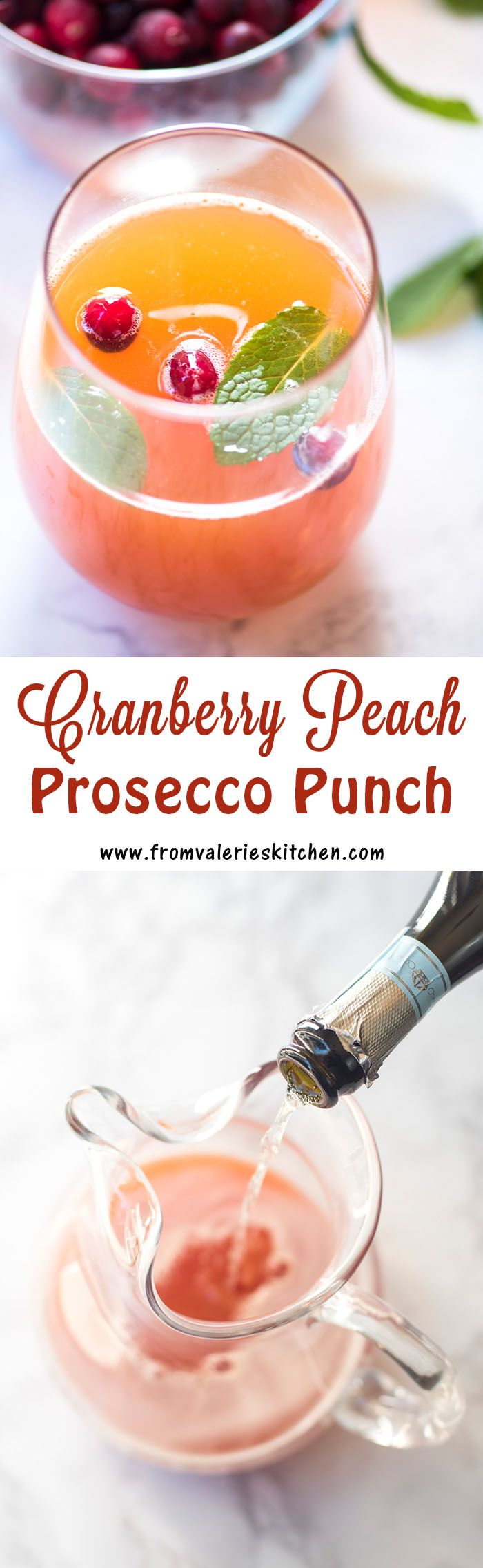 Cranberry Peach Prosecco Punch is a sweet, bubbly, and exceptionally festive beverage perfect for a holiday brunch or New Year